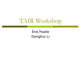 TAIR Workshop