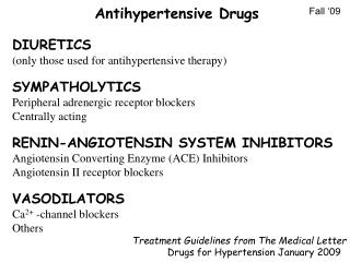 DIURETICS (only those used for antihypertensive therapy) SYMPATHOLYTICS