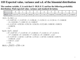 11D Expected value, variance and  s.d.  of the binomial distribution