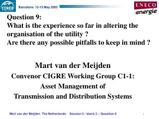 Mart van der Meijden Convenor CIGRE Working Group C1-1: Asset Management of