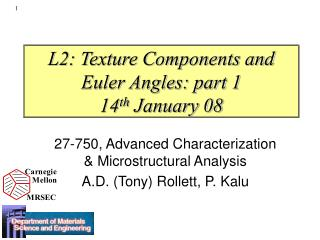 L2: Texture Components and Euler Angles: part 1 14 th  January 08