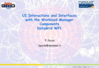 UI Interactions and Interfaces with the Workload Manager Components DataGrid WP1