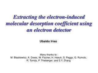 Extracting the electron-induced molecular desorption coefficient using  an electron detector