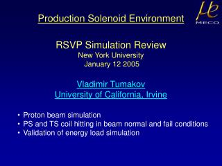 Production Solenoid Environment