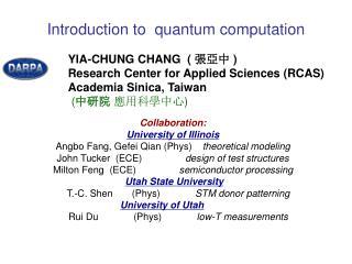 Intro duction  to  quantum computation