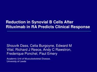 Reduction in Synovial B Cells After Rituximab in RA Predicts Clinical Response