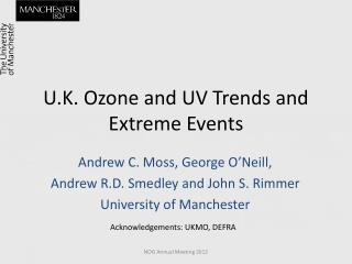 U.K. Ozone and UV Trends and Extreme Events