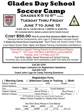 Glades Day School Soccer Camp