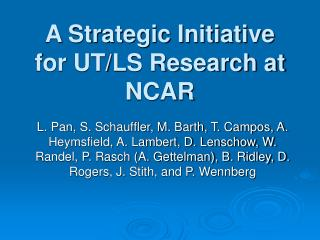 A Strategic Initiative for UT/LS Research at NCAR