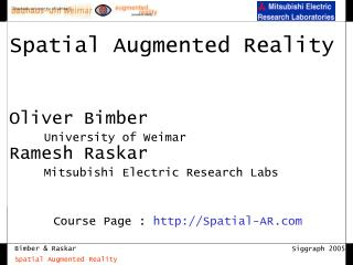 Course Page :  Spatial-AR