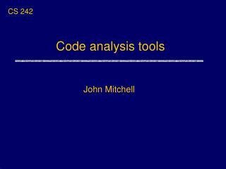Code analysis tools