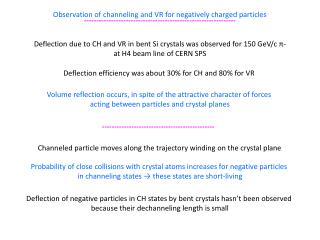 Observation of channeling and VR for negatively charged particles