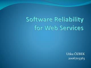 Software Reliability  for  Web Services