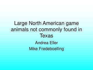 Large North American game animals not commonly found in Texas