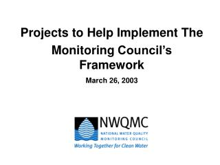 Projects to Help Implement The Monitoring Council's Framework