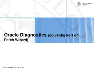 Oracle Diagnostics  (og veldig kort om Patch Wizard)
