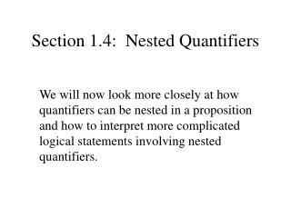 Section 1.4:  Nested Quantifiers