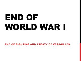 End of world war I