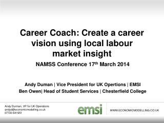 Career Coach: Create a career vision using local labour  market insight
