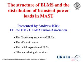 The structure of ELMS and the distribution of transient power loads in MAST