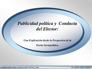 Publicidad política y  Conducta del Elector: Una Explicación desde la Perspectiva de la