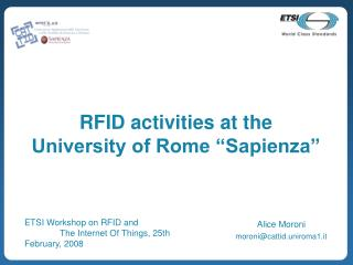 "RFID activities at the  University of Rome ""Sapienza"""