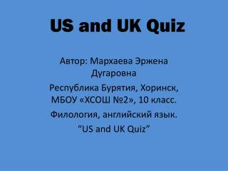 US and UK Quiz