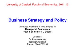University of Cagliari, Faculty of Economics, 2011-12