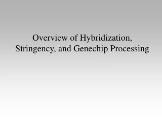 Overview of Hybridization, Stringency, and Genechip Processing