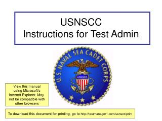 USNSCC Instructions for Test Admin