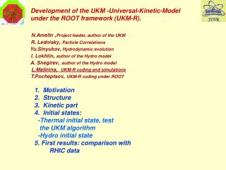 N.Amelin  , Project leader, author of the UKM R. Lednisky ,  Particle Correlations