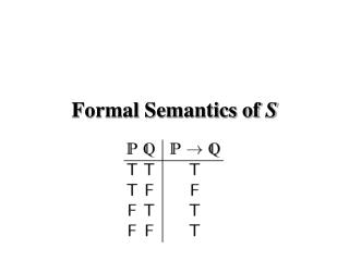 Formal Semantics of  S