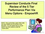 Supervisor Conducts Final Review of the 5 Tier Performance Plan ViaMenu Options - EmpowHR