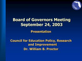 Board of Governors Meeting September 24, 2003