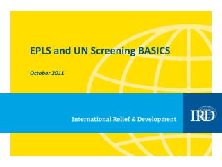 EPLS and UN Screening BASICS