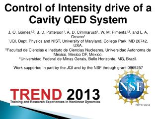 Control of Intensity drive of a Cavity QED System