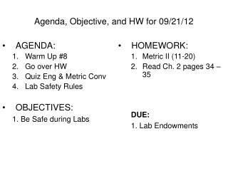 Agenda, Objective, and HW for 09/21/12