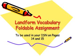 Landform Vocabulary Foldable Assignment