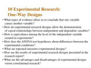 10 Experimental Research:  One-Way Designs