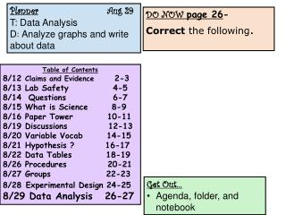 Planner 			    Aug 29 T: Data  Analysis D :  Analyze graphs and write about data