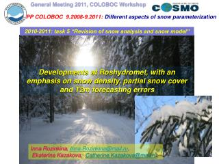 PP COLOBOC   9.2008-9.2011 :  Different aspects of snow parameterization