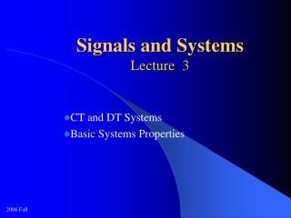 Signals and Systems Lecture  3