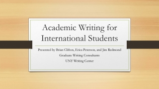 Academic Writing for International Students