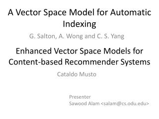 A Vector Space Model for Automatic Indexing