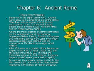 Chapter 6:  Ancient Rome