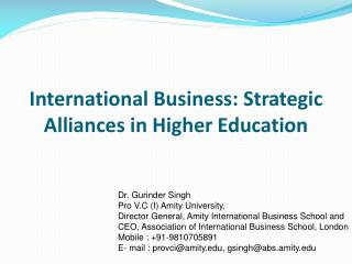International Business: Strategic Alliances in Higher Education