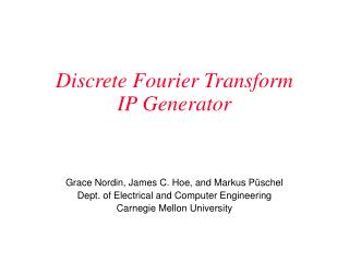 Discrete Fourier Transform  IP Generator