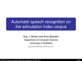Automatic speech recognition on  the articulation index corpus