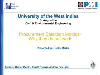 University of the West Indies St Augustine Civil & Environmental Engineering