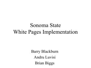 Sonoma State White Pages Implementation